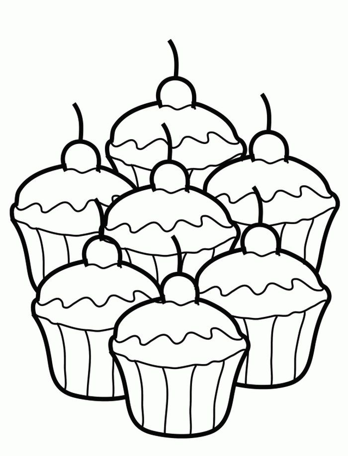 Christmas Cupcake Coloring Pages from Cupcake Coloring