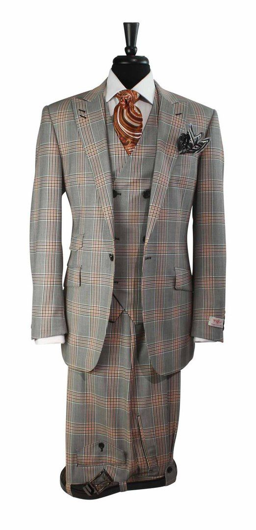 Tiglio Rosso Black Orange Gray Prince Of Whales Plaid 3 Piece Suit @ SuitYourselfMenswear.com