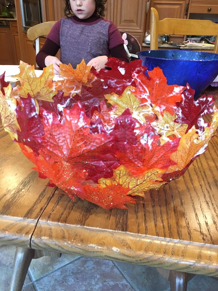 Paper mache bowls with fall leaves
