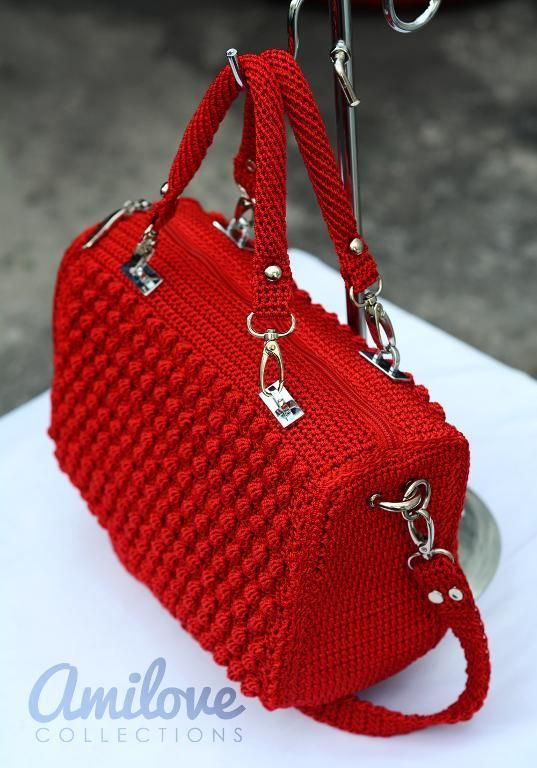 Looking for your next project? You're going to love Red Bobble Stitch Hand Bag: #crochet pattern for purchase