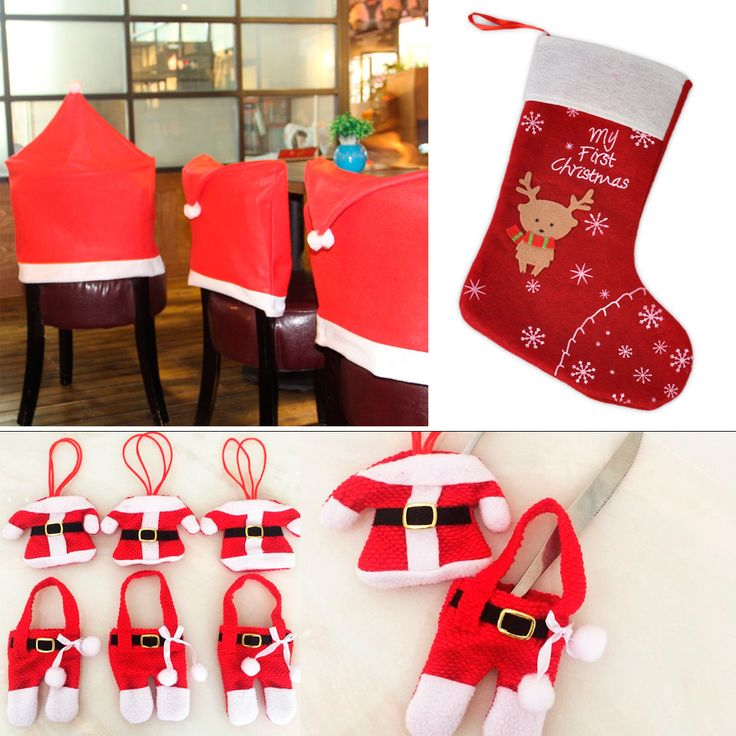 Xmas Christmas Party Decor Santa Clothing Chair Cover Cutlery Gift Candy Sock