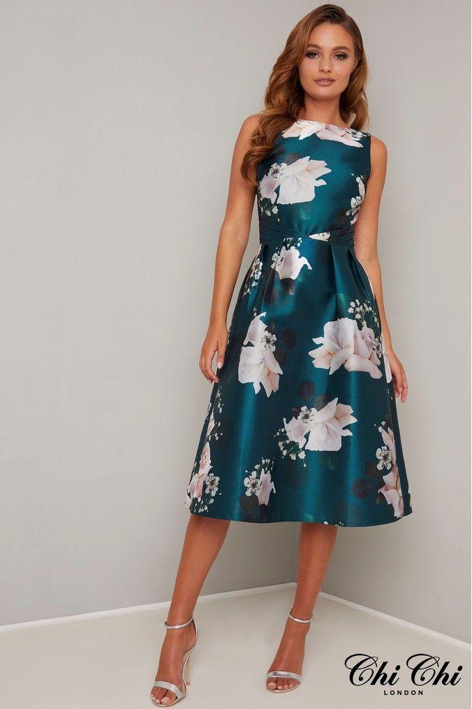 Womens Chi Chi London Dellia Dress Green