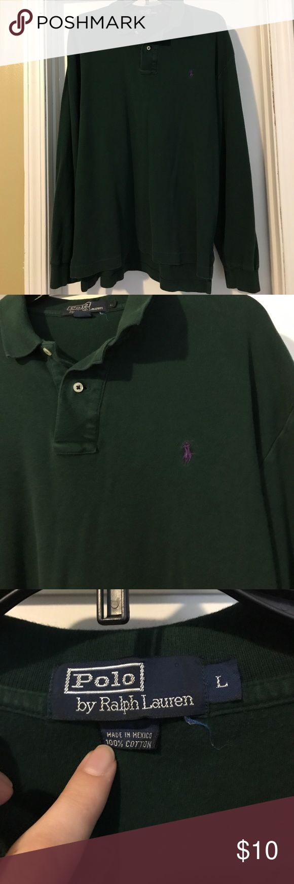 Polo by Ralph Lauren men's long sleeve shirt sz L Polo by Ralph Lauren Men's size Large hunter green 100% cotton Long sleeve polo shirt with purple polo emblem. GUC, asking $10. Smoke free home. Polo by Ralph Lauren Shirts Polos
