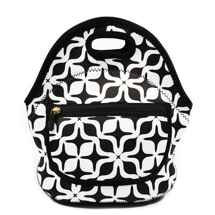 MangGou White & Black Geometric Pattern Waterproof Lunch Bags for Women fashion Reusable Insulated Lunch Boxes for School Work Office Picnic Travel Neoprene Lunch Tote with Side Pocket Zipper Closure
