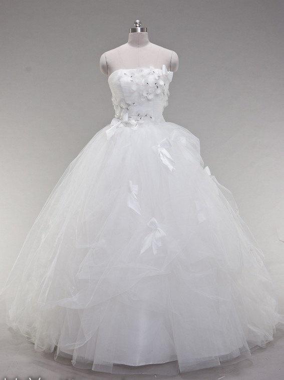 Ball Gown Strapless Sweep/Brush Train Satin Tulle by lassdress, $229.00