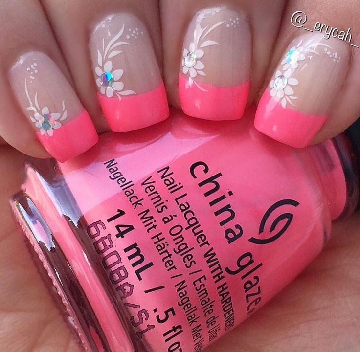 Pink french manicure with China Glaze - Lip Smackin' Good