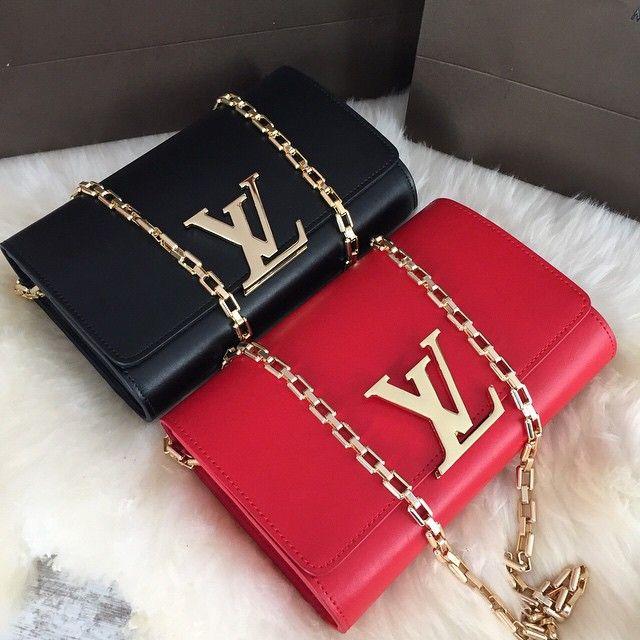 Louis Vutton Handbags Shoulder Bags Black Red Gold Chain Designer Fashion