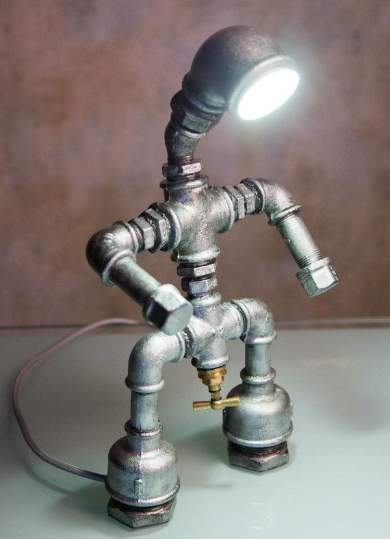 Pipe man / Iron pipe lamp / Industrial Lamp by LUMENworkshop