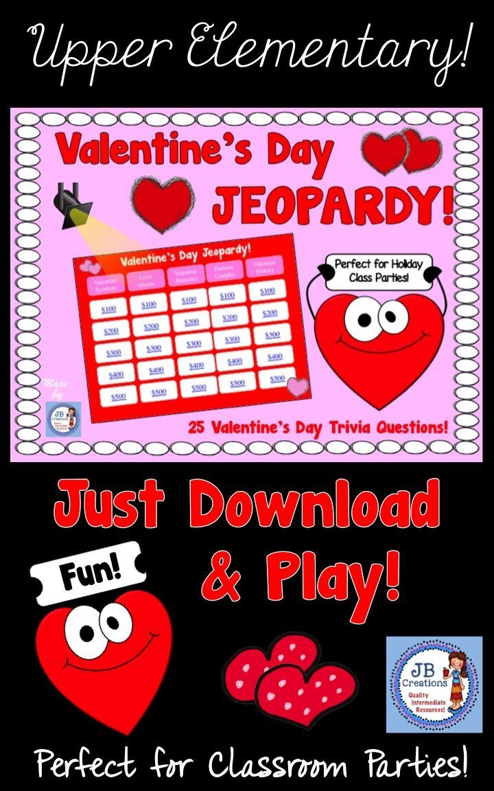 Grab this engaging, interactive game that is perfect for classroom parties on Valentine's Day!  https://www.teacherspayteachers.com/Product/Valentines-Day-Jeopardy-Game-for-Intermediate-Grades-3595867