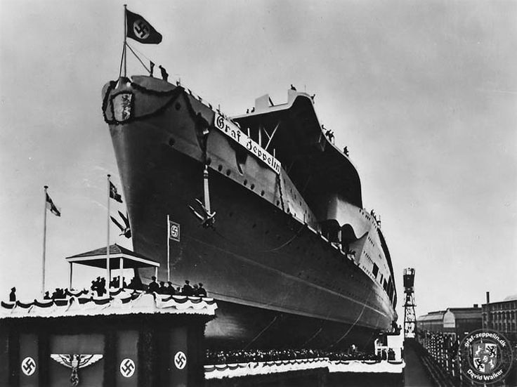 Kriegsmarine aircraft carrier Graf Zeppelin being launched at Kiel, 8 December 1938.
