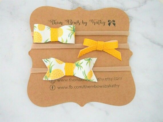 Pineapple Sunshine headband set  Available from www.thembowsbykathy.etsy.com