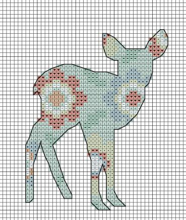 FREE woodland fawn cross stitch pattern