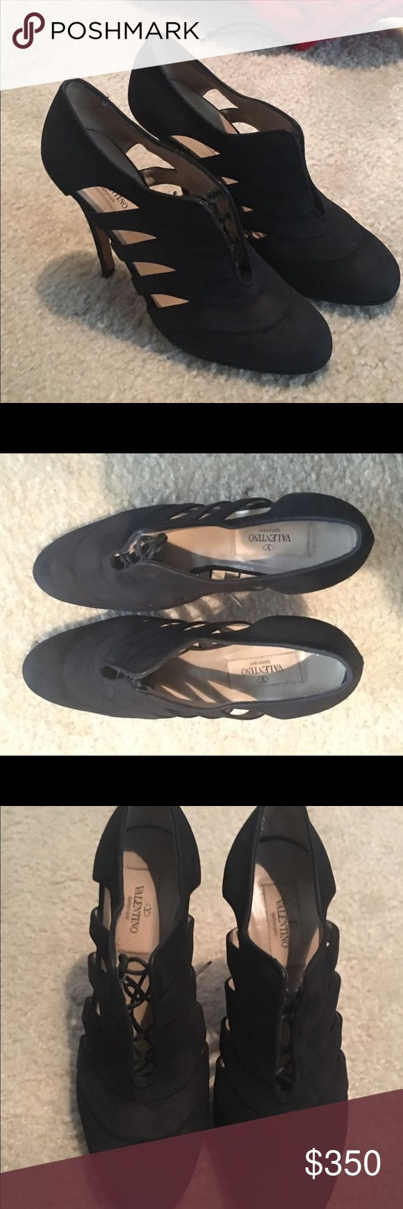 SALE! 😍 Valentino Lace Up Black Pumps The most amazing black heels from Valentino. Authentic. Size 6.5, worn once but worn outside so scuffed on bottom (but perfect condition). Lace up heeled sandals/pumps. Comes with dust bags. I wouldn't sell except that I have literally no chance to wear them in medical school 😅 Valentino Shoes Heels