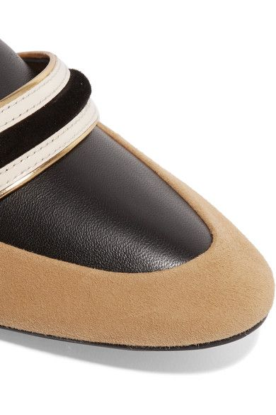 Lanvin - Suede And Leather Slippers - Sand - IT
