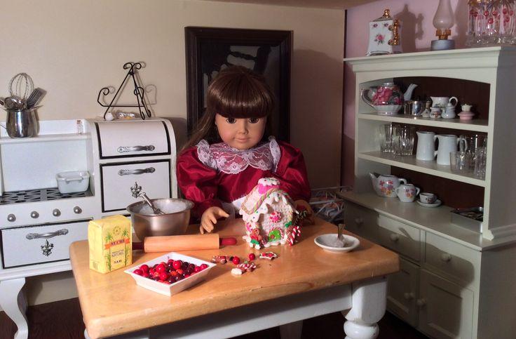 American girl doll Samantha making her gingerbread house. By Tasha D.