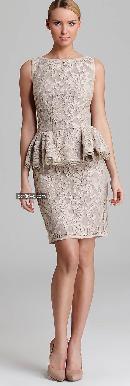 Tadashi Shoji Peplum Dress - Sleeveless Lace