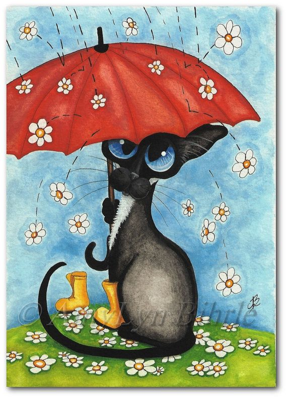 Siamese Cat Spring Showers - Art Prints & ACEOs by Bihrle ck345
