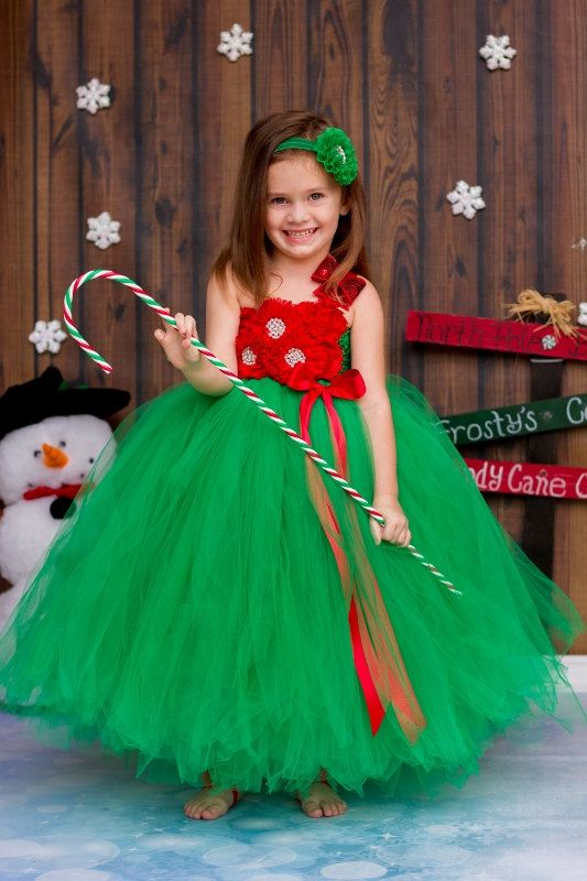 Christmas Tutu Dress Red Green and White by PrincessLondonsTutus
