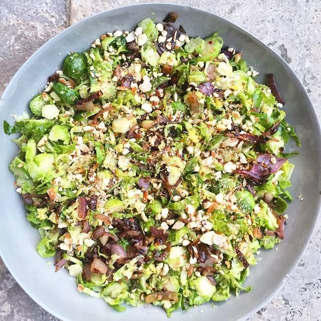 Shaved brussels sprout and caramelised onion salad  Print Author: Jessica…