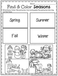 Preschool Seasons Worksheet - Find and Color the seasons cut and paste.