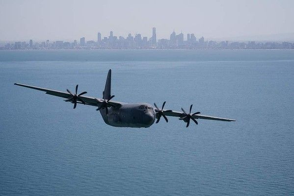 A C130 Hercules flies over Melbourne to promote the Point Cook Airshow on March 1st.