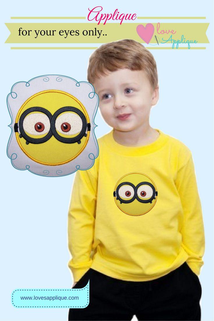 Minion Applique Designs. Minion Embroidery Designs. Minion designs. Minion Party Ideas. Minion Characters. Minion outfits. Minion T Shirt. www.lovesapplique.com