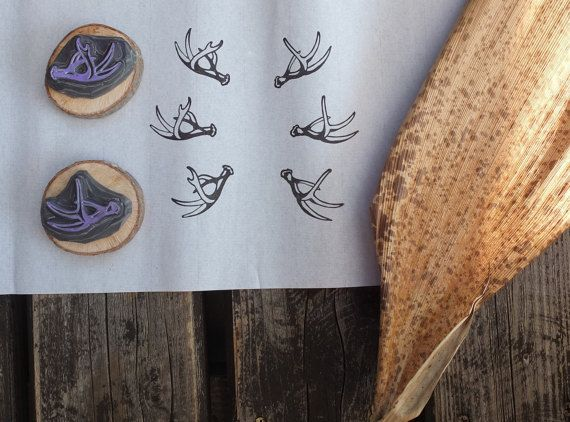 Pair of antlers stamps set. Hand carved by HandCarvedStamps