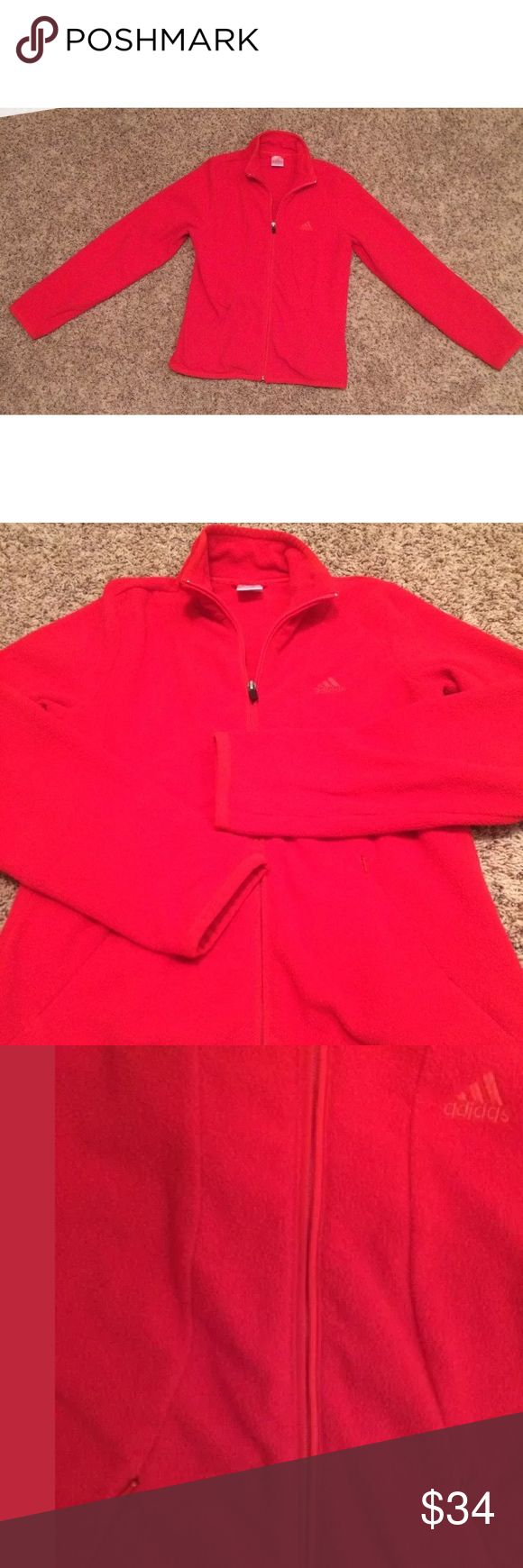 """Adidas Women's Red Long Sleeve Zip Up Fleece med Adidas Women's Red Long Sleeve Full Zip Up Fleece, 2 side hideaway zip pockets, Size Medium, Bust 36"""", 100% Polyester New without Tags flawless Tops Tees - Long Sleeve"""