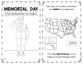 Emergent Reader for Memorial Day. Kindergarten and First Grade. 10 pages. Includes black line and color versions. $