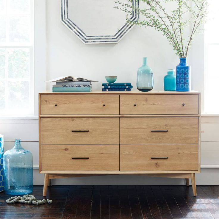 Mid-Century 6-Drawer Chest - Natural Oak