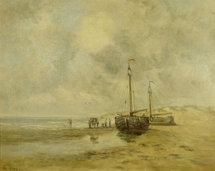 Hendrik Poeder (1897-1958) Titel: Boomschuiten op het strand - Artiquair