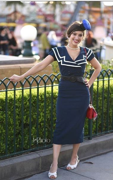 Disney's Dapper Day is a cosplayers dream! This vintage nautical pencil dress is a nod to Donald Duck. Check out the other retro costumes that giving us all the inspiration for Halloween. source: @airguy1603/Instagram