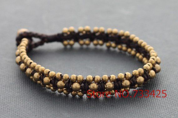 Brass Beaded Woven Bracelet with waxed cord weaved,thai style brass bracelet for women,5pcs/lots free shipping
