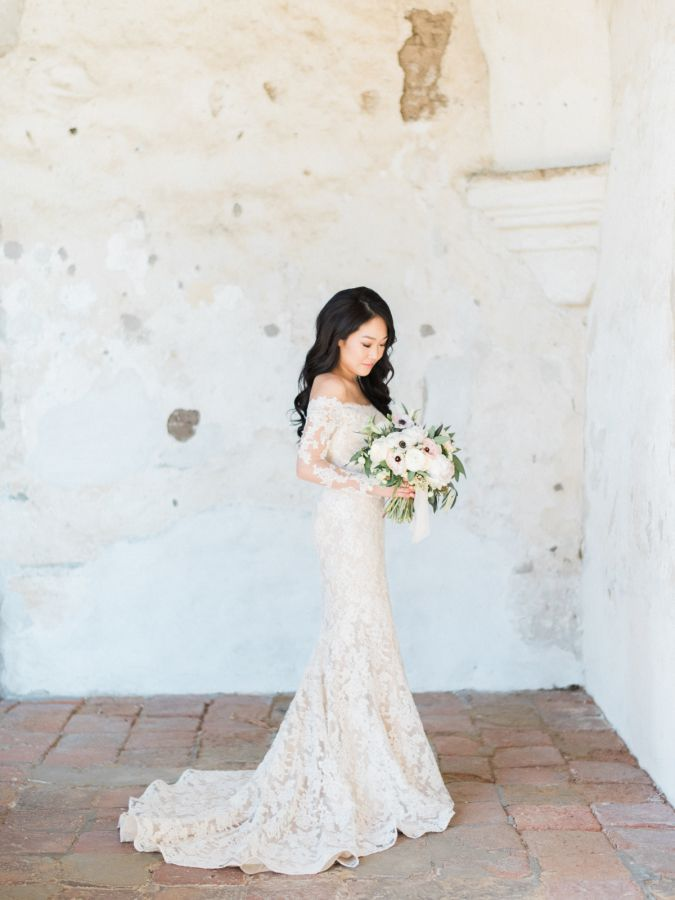 Atelier By Dawn off the shoulder lace wedding gown: http://www.stylemepretty.com/2016/09/17/all-white-franciscan-gardens-wedding/ Photography: Ether and Smith - http://etherandsmith.com/