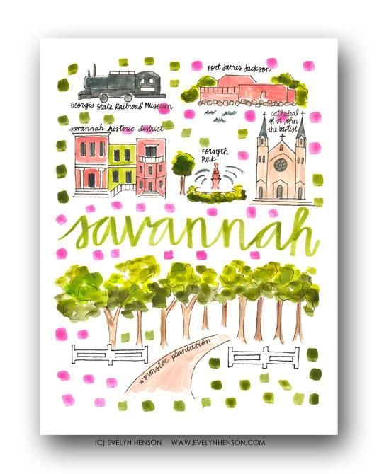 Savannah, GA Map Print