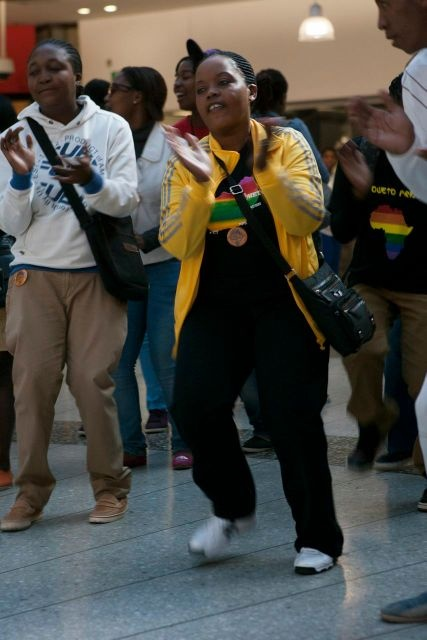 IDAHOT 2013, Johannesburg. Clapping and dancing while Candice Nkosi  danced to the African drum played for her.