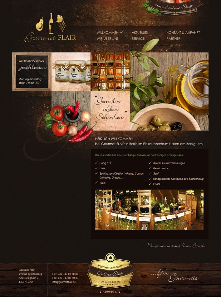 Full screen capture of a food website. Love the dark texture background in contrast with the foreground photos.