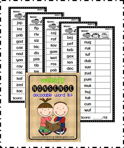 Use these for weekly decoding checks using nonsense words