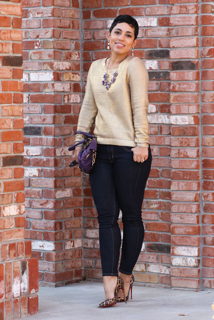 Gold Sweater + Leopard - Mimi G Style