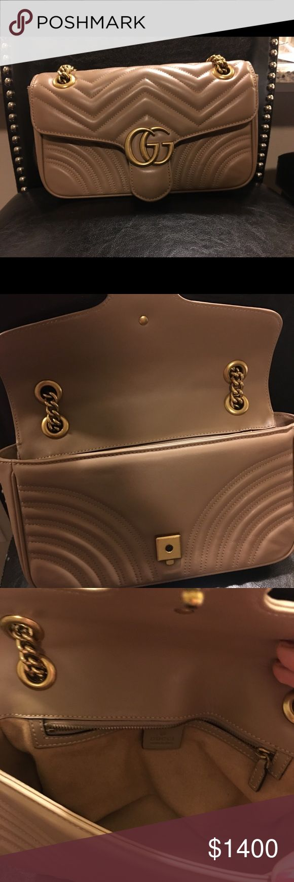 Gucci Marmont Metalesse small nude purse Used almost no signs of wear on the exterior, interior has a small discoloration spot due to cleaning product. Great condition. Gucci Bags Shoulder Bags