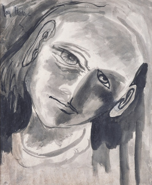 JOY HESTER (1920-1960) Face of a Girl 1947 china ink on paper on board