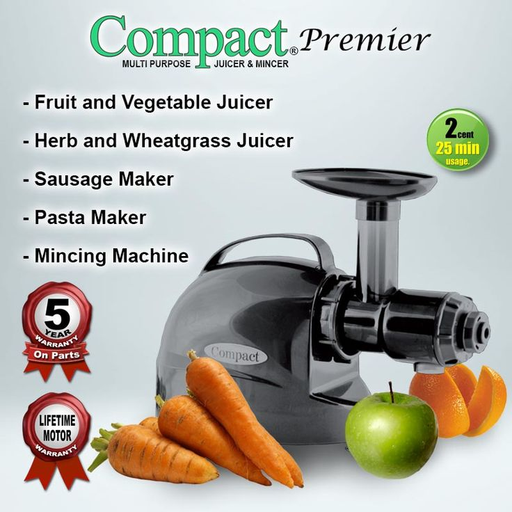 Compact Premier Cold Press Juicer is also a Multipurpose food processor combining 10 machines in one. Unlike traditional style juicers that operate at high speeds, rip apart the produce and create frictional heat that kills most of the living enzymes and nutrients, the Compact Premier Cold Press Juicer operates at a lower speed gently squeezing and pressing the produce. http://www.tohealth.com.au/product/cold-press-juicer-compact-premier/