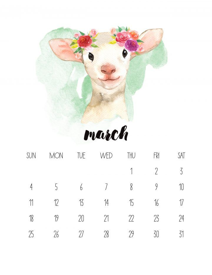 Free Printable 2018 Watercolor Animal Calendar Watercolor