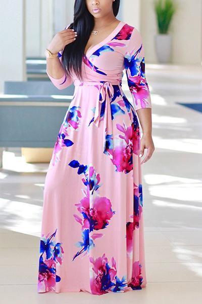 4b3f562d5fa Description  Flower printed Maxi dress with high waist belt tie around.  Floor Length Dresses