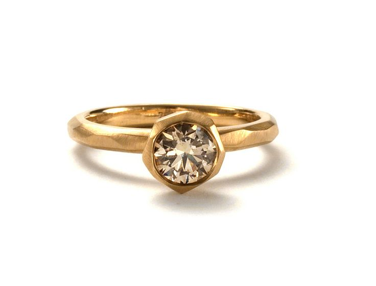 18ct yellow gold faceted band and cup setting, set with a champagne Diamond. www.kristamcrae.com