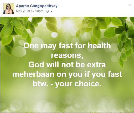 fasting can be done for health reasons....only!