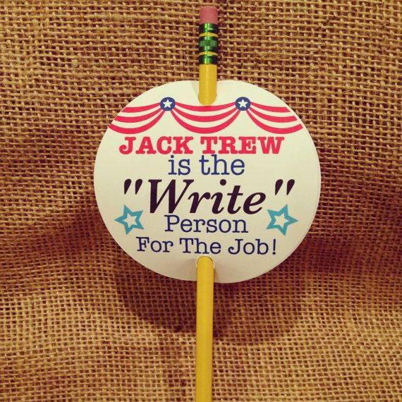 "Class Election Tag  ""Write"" Person by PottersBarn on Etsy, $4.95"