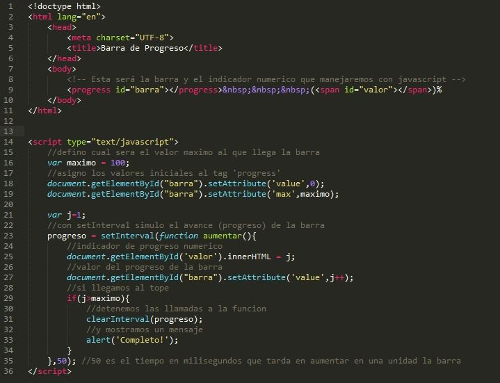 Barra de Progreso con HTML5 y Javascript