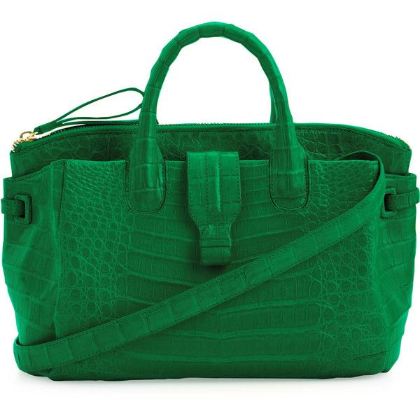 Nancy Gonzalez Medium Crocodile Satchel Bag ($2,950) ❤ liked on Polyvore featuring bags, handbags, purses, green, handbags totes, green tote, man tote bag, green satchel handbag and green purse
