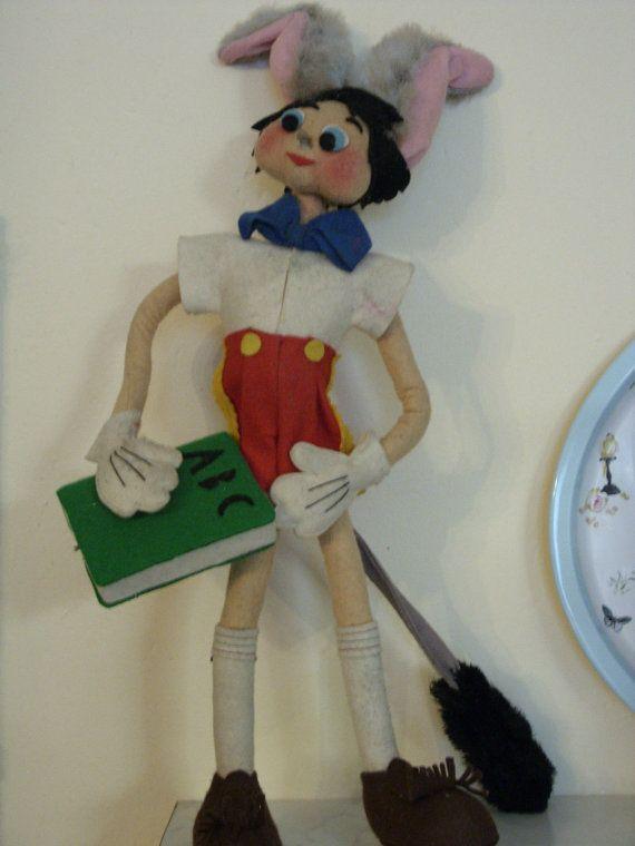 Pinocchio in pannolenci fatto interamente a mano- originale anni 1960